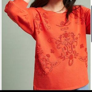 Anthropologie Akemi + Kin Orange Beaded Sweater